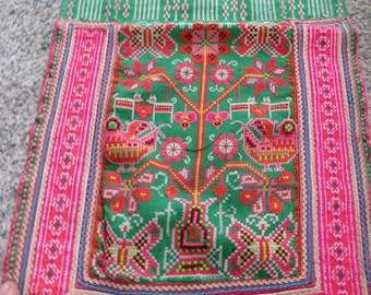Vintage Hmong Cross stitch Fabric, handmade tapestry textiles, hill tribal fabrics from Thailand
