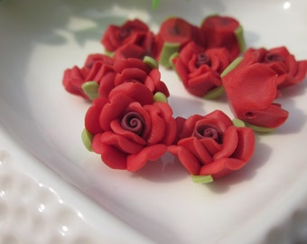 10 pcs 16mm Polymer Clay Flowers,red rose flower, FIMO Pendant Charm craft jewelry Necklaces Earrings Bracelet Accessories