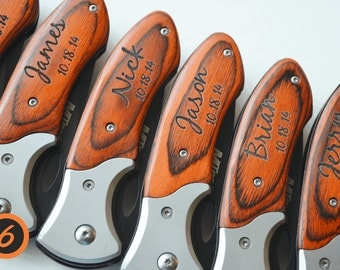 Set of 6 personalized knives,FREE priority mail, engraved knives, wedding, groomsmen gifts, groomsman gift, folding pocket knives #12