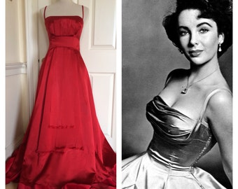 Amazing red 50s Liz Taylor-style Golden Age of Hollywood satin ball gown