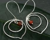 Carnelian Double Leaf Sterling Silver Earrings