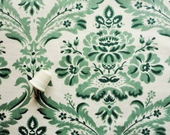 green damask print vintage cotton fabric -- 50 wide by 2 yards