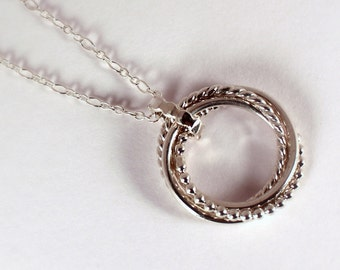 Four Mixed Rings Rolling Ring Necklace, Sterling Silver, Made to Order