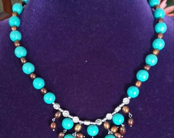 Gorgeous Blue Turquoise with Bronze Pearl Necklace