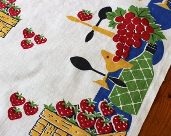 Vintage Linen Dish Towel Kitchen Mid Century Bright Red Blue Gold Wine Grapes Berries Cutlery