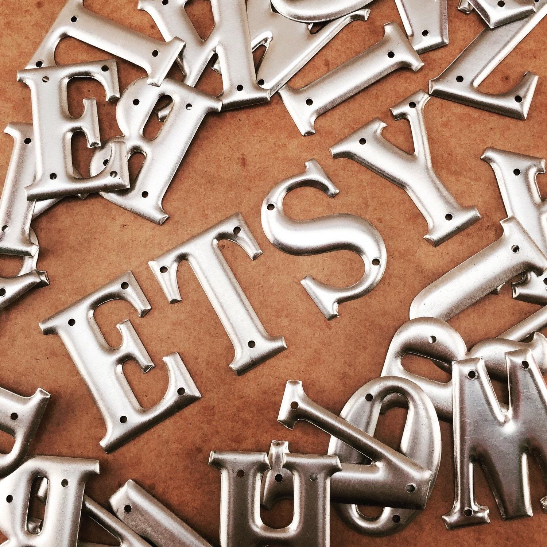 Vintage metal letters 15 alphabet premax telephone for Aluminum letters