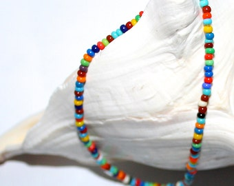 Hippie Anklet Love Peace Beads Women Teen Tribal Boho Native American Indian Women's Anklet Jewelry Handmade by CzechBeaderyShop