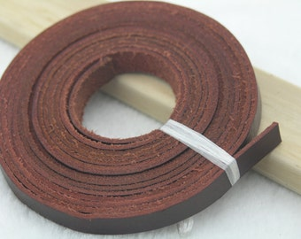 3 Meters 10.0x2.0mm Flat Wine Color Color  Real/Genuine Jewelry Leather Cord