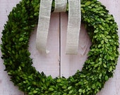 "20"" FRESH PRESERVED Burlap Boxwood Door Wreath-Spring Wreath-Preserved Boxwood Wreath-Front Door Wreath-Summer Wreath-Boxwood Wreath-Wreaths"