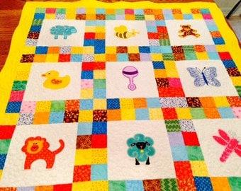 Sale Animal Baby Quilt, Appliqued Toddler Quilt