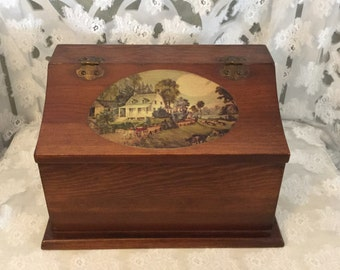 Vintage Wooden Box with Hinged Top Decorative Box