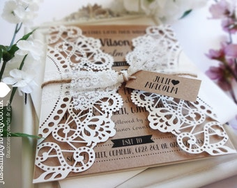 Beautiful 'Rustic Lace' Wedding Invitation (Pack of 5)