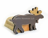 Log Moose Desk Organizer, Moose Decor, Organizes Letters, Bills, Cards, Rustic Office Decor, Natural EcoFriendly Reclaimed Wood