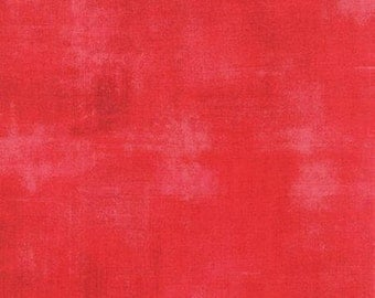 Basicgrey - Grunge for Moda - Solid Red - Flamingo - 254 - 1/2 Yard Cotton Quilt Fabric 516