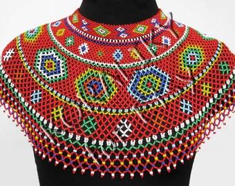 Traditional Lemko Kryza Folk Handmade Beads Beaded NECKLACE Gerdan
