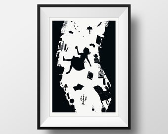 Alice in Wonderland- Tumble Down the Rabbit Hole Silhouette Black and White Literature Wall Art, Lewis Carroll Giclée Illustrated Lit Print