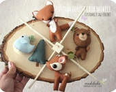 WOODLAND BABY MOBILE - baby crib mobile - forest creatures - woodland - fox - deer - bear - bird - forest - felt