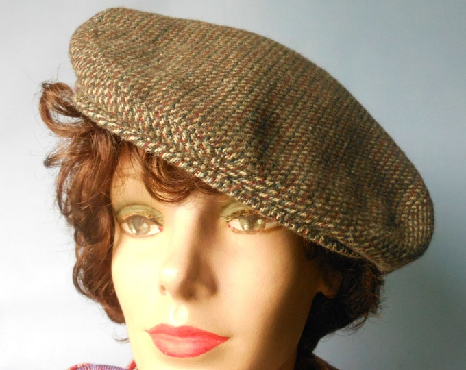 Totes golf hat 'Rain rolls right off' brown tweed newsboy style size large unisex vintage
