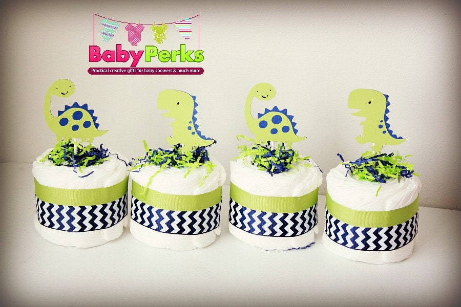 4 Dinosaur Diaper Cakes Baby shower centerpiece Baby