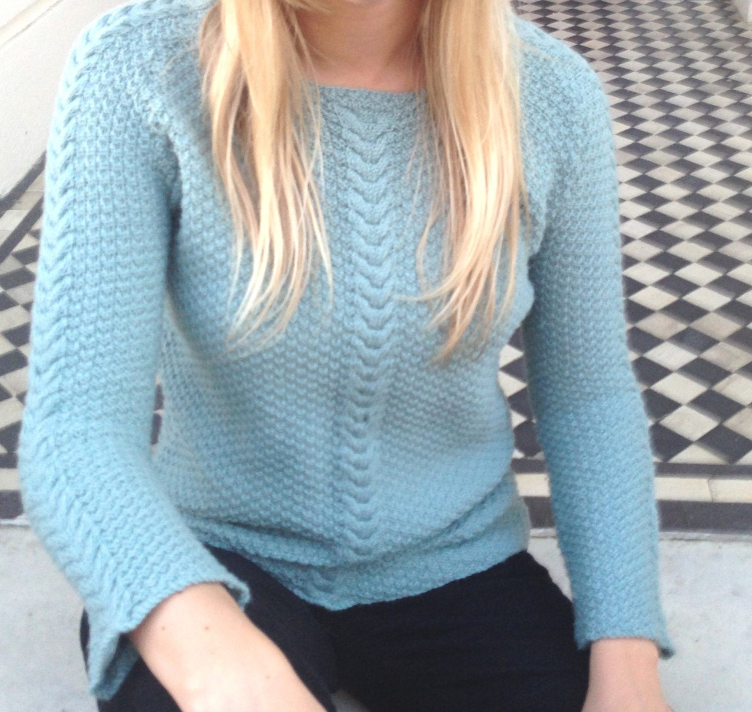 Double Moss Stitch Top Knitting Pattern PDF File