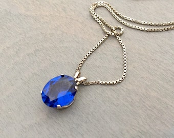 Sterling Blue Sapphire Solitaire Necklace Vintage 1940s fine jewelry Retro Sterling Blue Glass Gift for Her