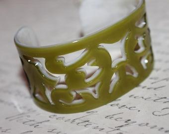 Vintage Asian Carved Green Cuff Bracelet-1950