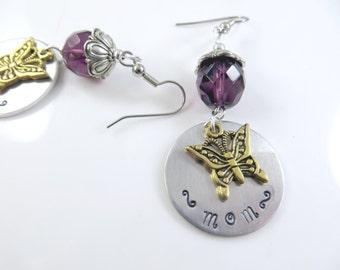 Hand stamped purple Mom earrings