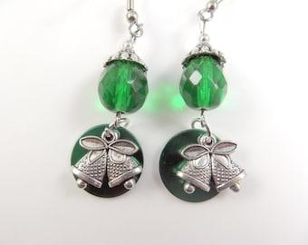 Green christmas bell earrings