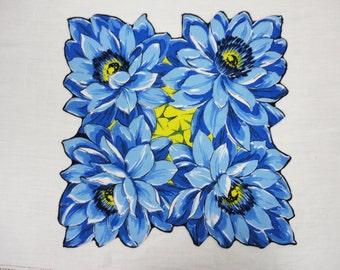 Vintage Handkerchief Bright Blue Poppies - Leaf Shaped Edges - Cotton