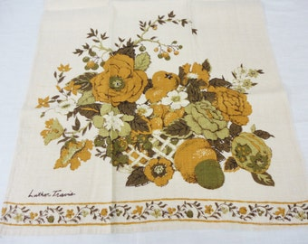 Vintage Linen Luther Travis Towel - Floral Basket in Gold and Green by Fallani & Cohn