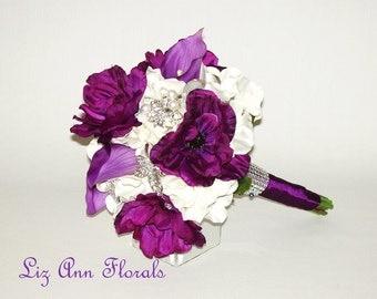 Silk Wedding Bouquet Purple Anemone Calla Lilies Silver BROOCH Bouquet Silk Flower Purple Silver Bridal Bouquet Package Groom's Boutonniere