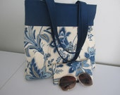 Woman's fabric purse with case Set lined interlined navy and cream floral with navy duck band RTS