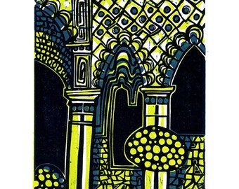 Alhambra Arches Linocut Hand Pulled Original Relief Print Variable Edition of 15 (lime)