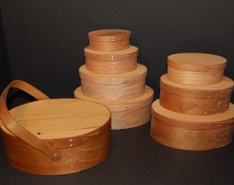 """Shaker Oval Boxes and Trays  Various sizes made with Cherry and   """"Antique White Pine"""""""