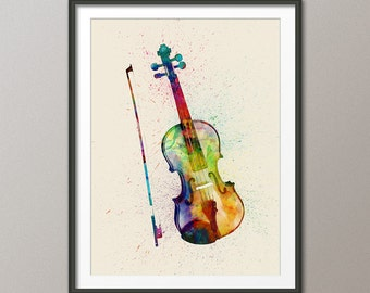 Violin Abstract Watercolor Music Instrument Art Print (1988)