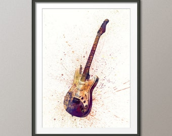 Electric Guitar, Abstract Watercolor Music Instrument Art Print (1994)