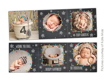 INSTANT DOWNLOAD  - 5x5 Accordion card Photoshop Template - Lights & Stars - E613