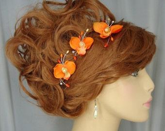 Orange Orchid Hair Pins, Set of 3, Bridal Hair Accessories, REX15-309