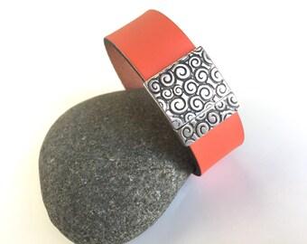 Wide Leather Bracelet, Coral Orange, Decorative Silver Magnetic clasp, Resort wear, Modern, Fun Jewelry, Summer Fashion