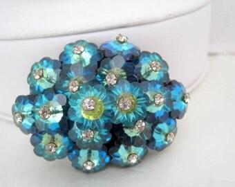 Margarita Rhinestone Brooch Blue Rivoli Cluster Pin