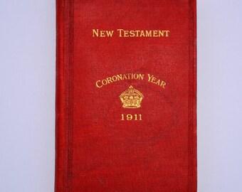 1911 Hardback Pocket Pictorial New Testament Coronation of King George V Scripture Gift Mission Vintage Bible Coronation Bible Worship