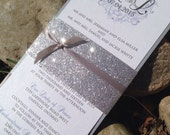 Glitter Wedding Invitation with Glitter Belly Band and Soft, Elegant Detailing / Custom Monogram