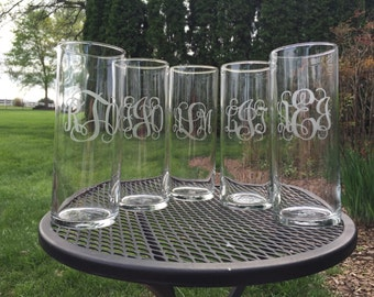 Custom personalized monogram glass etched vase - Mother's Day - graduation - summer party - teacher appreciation