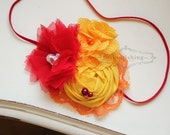 Red and Yellow headband, summer flower headbands, red headbands, baby headbands, newborn headbands, photography prop