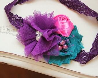 Purple, Teal and Pink headband, chiffon headbands, newborn headbands, lace headbands, photography prop