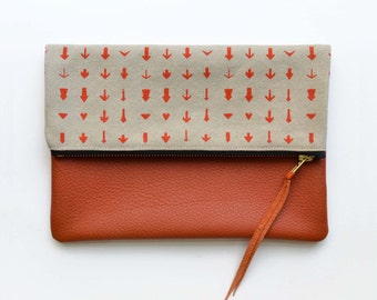 Orange Women's Clutch, Arrow Print Canvas Foldover Bag, Envelope Style Purse Zipper Tablet Case, Screenprinted bag Discounted due to flaws