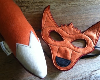 Red Fox Costume - Felt Animal Mask - Wool or Eco Felt - Mask and Tail Costume Gift Set