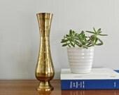 Tall Vintage Brass Vase Bud Vase Flower Vase Gold Metallic Rustic Boho Anthropologie Brass Decor