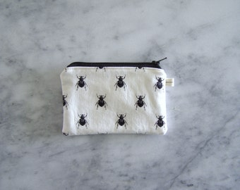 minimalist beetles - card size zippered bag - back pocket size - simple wallet - black zipper - coin purse