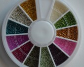 Micro Beads. Fish Eggs. Caviar Nail Art Wheel. 12 Assorted Colors